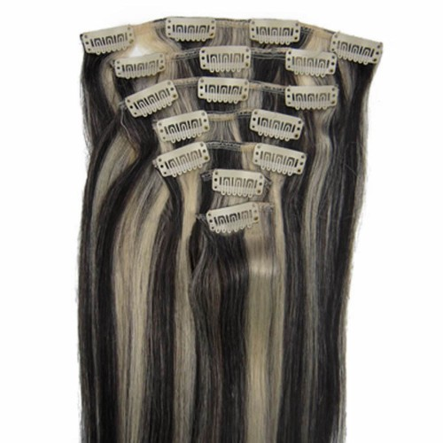 "24"" Brown/Blonde(#8/613) 7pcs Clip In Human Hair Extensions"
