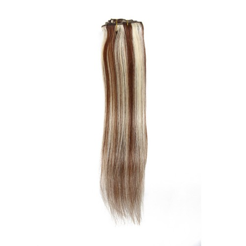 "18"" Brown/Blonde(#8/613) 7pcs Clip In Human Hair Extensions"
