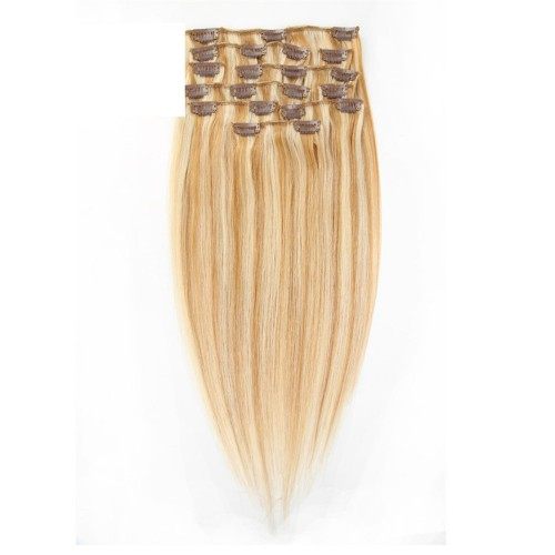 "14"" Blonde Highlight(#27/613) 7pcs Clip In Human Hair Extensions"