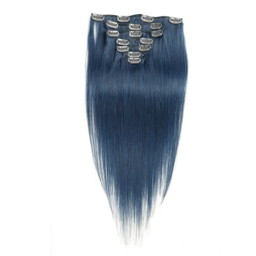 """18"""" Blue 7pcs Clip In Human Hair Extensions"""