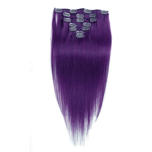 """24"""" Lila 7pcs Clip In Human Hair Extensions"""