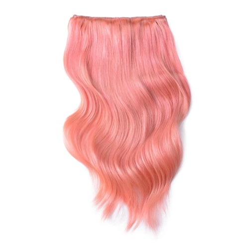 "16"" Pink 7pcs Clip In Remy Human Hair Extensions"