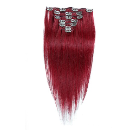 "14"" Red 7pcs Clip In Remy Human Hair Extensions"