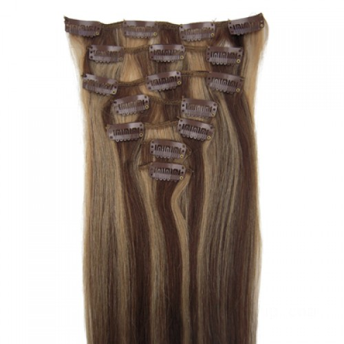 """16"""" Brown/Blonde(#4/27) 7pcs Clip In Human Hair Extensions"""