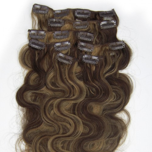 "22"" Brown/Blonde(#4/27) 7pcs Clip In Human Hair Extensions"