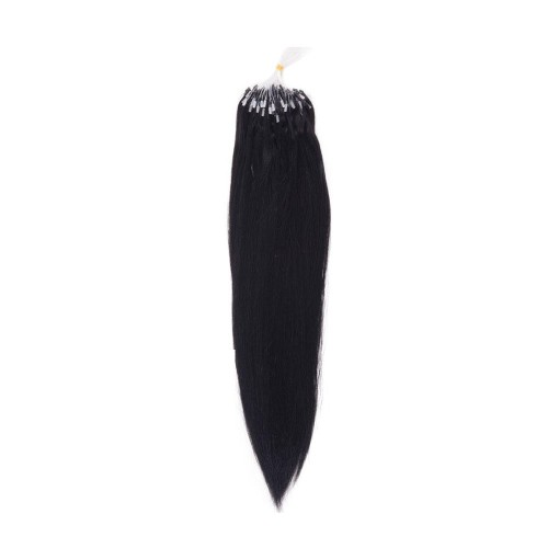 "20"" Jet Black(#1) 100S Micro Loop Remy Human Hair Extensions"