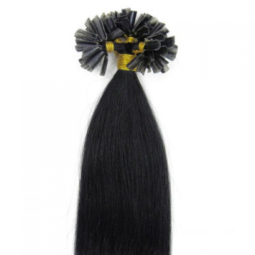 "14"" Jet Black(#1) 100S Nail Tip Remy Human Hair Extensions"