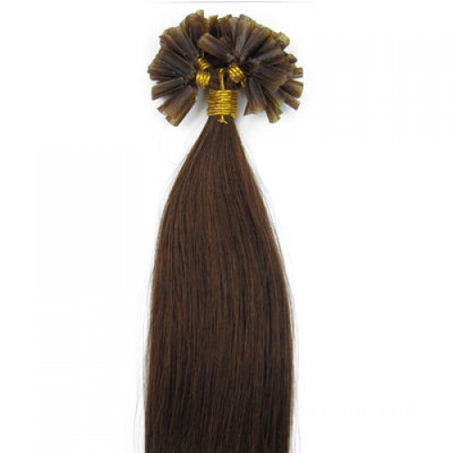 "16"" Medium Brown(#4) 100S Stick Tip Remy Human Hair Extensions"