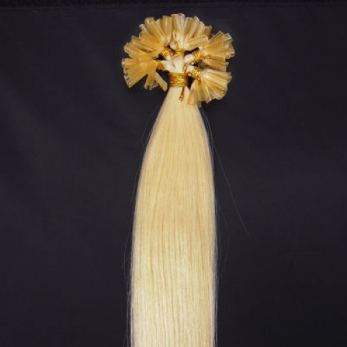 """16"""" White Blonde(#60) 100S Nail Tip Human Hair Extensions"""