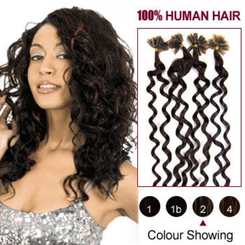 "20"" Dark Brown(#2) 100S Curly Nail Tip Remy Human Hair Extensions"