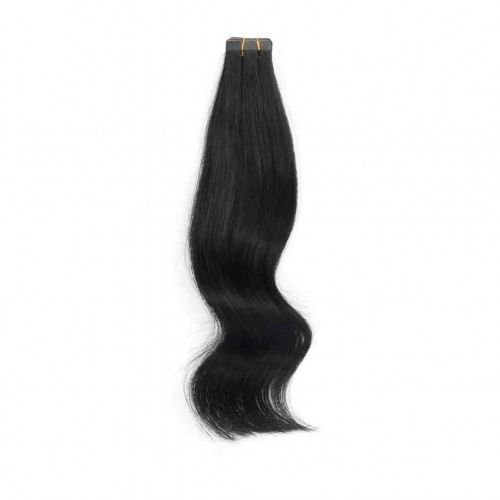 "22"" Natural Black(#1b) 20pcs Tape In Remy Human Hair Extensions"