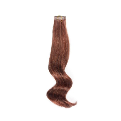 "18"" Dark Auburn(#33) 20pcs Tape In Human Hair Extensions"