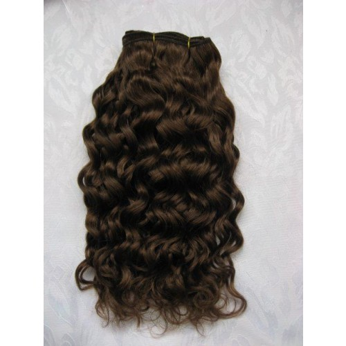 """16"""" Medium Brown(#4) Curly Indian Remy Hair Wefts"""