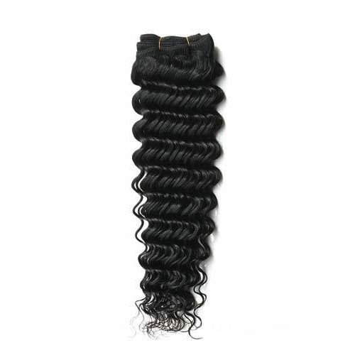 "16"" Jet Black(#1) Deep Wave Indian Remy Hair Wefts"
