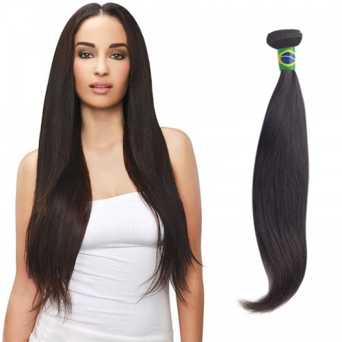 20 Inches Straight Natural Black Virgin Brazilian Hair