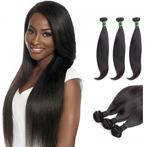12 Inches*3 Straight Natural Black Virgin Brazilian Hair