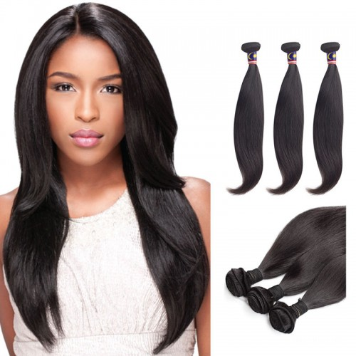 16 Inches*3 Kinky Straight Natural Black Virgin Brazilian Hair