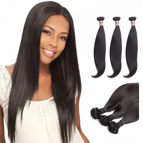 14 Inches*3 Straight Natural Black Virgin Peruvian Hair