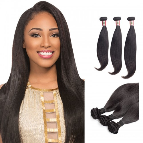 16/18/20 Inches Straight Natural Black Virgin Brazilian Hair