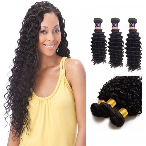20 Inches Deep Curly Natural Black Virgin Brazilian Hair
