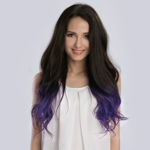"20"" Ombre(#1B/Violet) 7pcs Remy Clip In Hair Extensions-KINGHAIR"