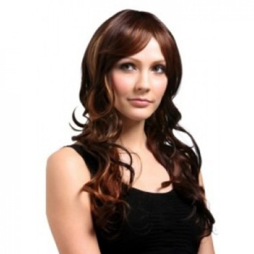Synthetic Hair Wig Wavy Golden Brown