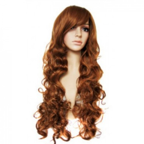 Synthetic Hair Wig Wavy Dark Auburn