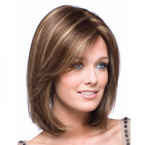 Synthetic Hair Wig Wavy Medium Brown