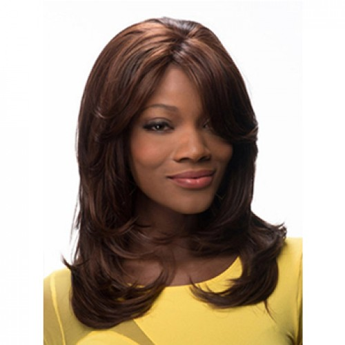 Glueless Human Hair Full Lace Wig Curly Medium Brown