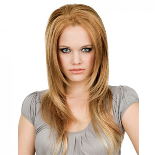 Human Hair Lace Front Wig Wavy Golden Blonde #16
