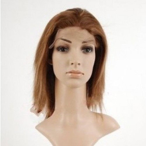 Glueless Human Hair Full Lace Wig Straight Light Auburn