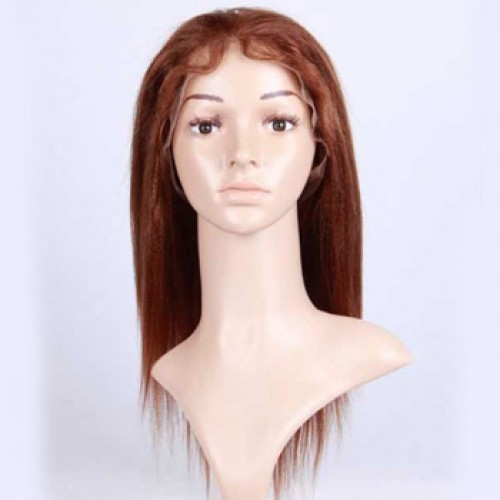 Glueless Human Hair Full Lace Wig Wavy Light Auburn