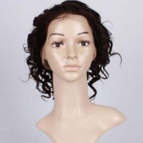 Glueless Human Hair Full Lace Wig Curly Auburn