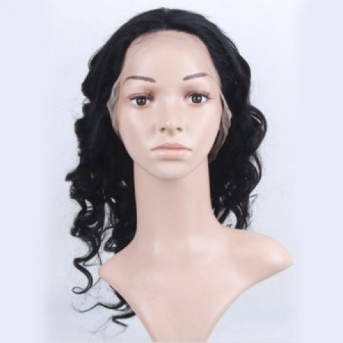 Glueless Human Hair Full Lace Wig Curly Strawberry Blonde