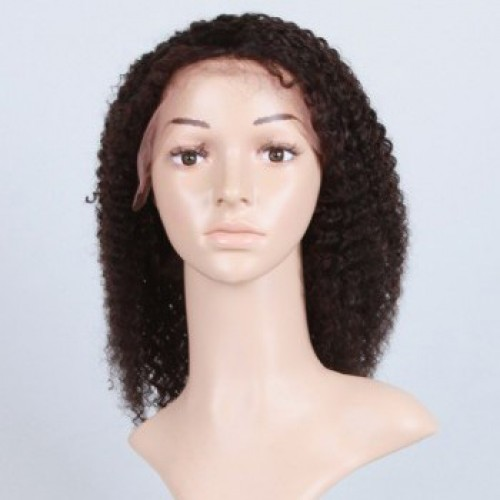 Glueless Human Hair Full Lace Wig Curly Natural Black