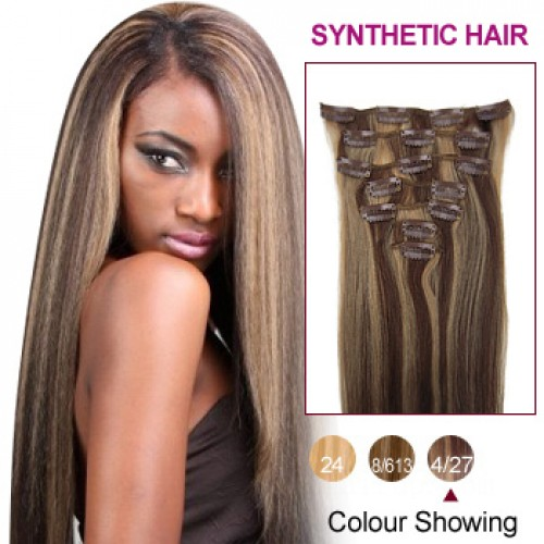 "18"" Brown/Blonde(#4/27) 7pcs Clip In Synthetic Hair Extensions"