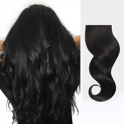 "26"" Natural Black(#1b) 7pcs Clip In Human Hair Extensions"