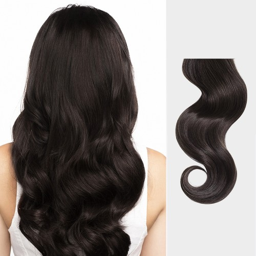 "14"" Dark Brown(#2) 7pcs Clip In Human Hair Extensions"