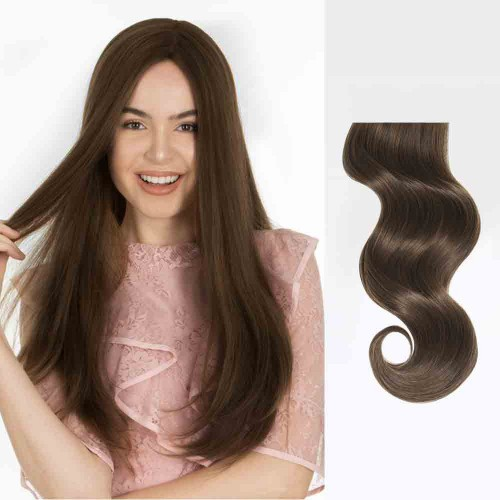 "18"" Medium Brown(#4) 7pcs Clip In Human Hair Extensions"