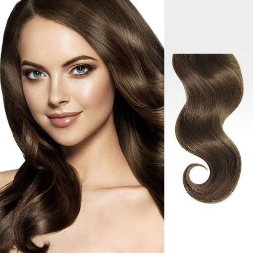 """26"""" Ash Brown(#8) 12pcs Clip In Remy Human Hair Extensions"""