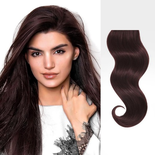 "18"" Dark Auburn(#33) 7pcs Clip In Remy Human Hair Extensions"