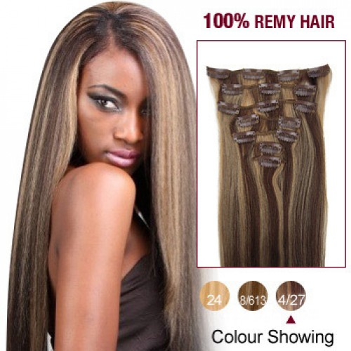 "18"" Brown/Blonde(#4/27) 7pcs Clip In Human Hair Extensions"