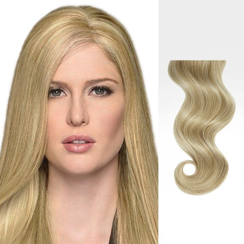 "14"" Blonde Highlight(#18/613) 7pcs Clip In Human Hair Extensions"
