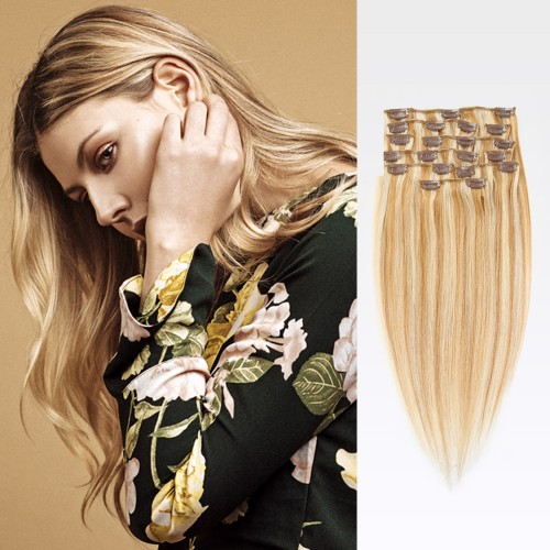 "20"" Blonde Highlight(#27/613) 7pcs Clip In Remy Human Hair Extensions"