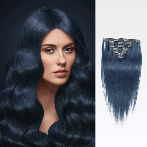 "213"" Blue 7pcs Clip In Human Hair Extensions"