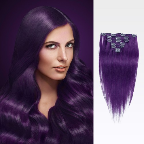 "24"" Lila 7pcs Clip In Human Hair Extensions"