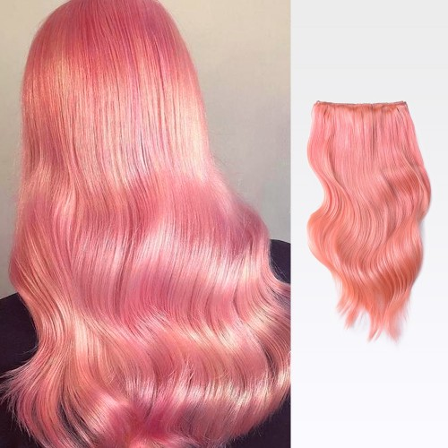 "16"" Pink 7pcs Clip In Human Hair Extensions"