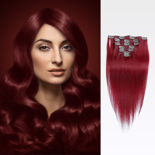 "16"" Red 7pcs Clip In Remy Human Hair Extensions"