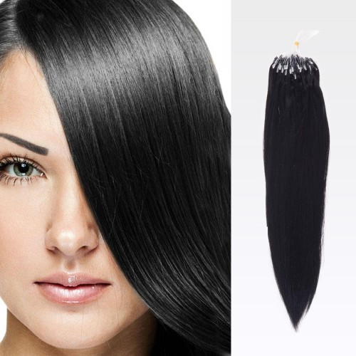 """20"""" Jet Black(#1) 100S Curly Micro Loop Remy Human Hair Extensions"""