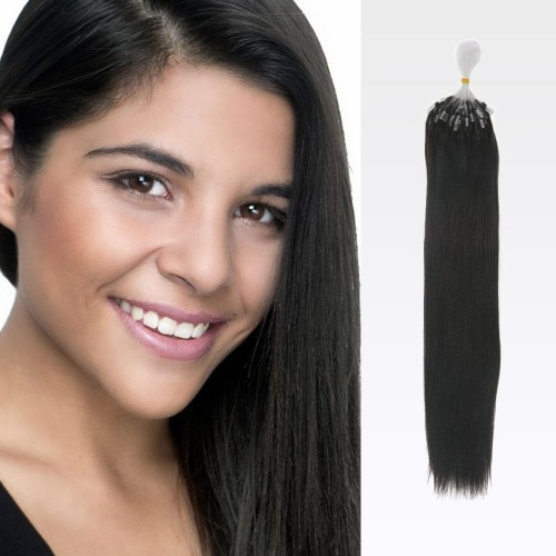 "24"" Natural Black(#1b) 100S Micro Loop Remy Human Hair Extensions"